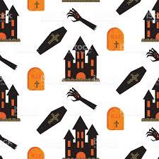 halloween vectors halloween castle vector seamless pattern stock vector art