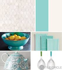 kitchen tile ideas mother of pearl hexagon with blue accessories