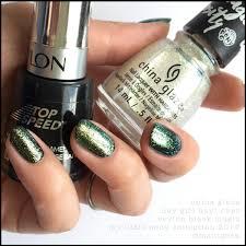 china glaze hay hay over revlon black magic nails