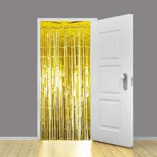 Gold Metallic Curtains Gold Metallic Shimmer Curtains 91cm X 240cm Pack Of 10 Partyrama