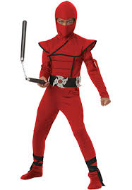 ninja halloween costume kids kids red stealth ninja costume escapade uk