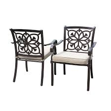Aluminum Patio Dining Set Shop Allen Roth Ebervale Set Of 2 Brown With Golden Brush