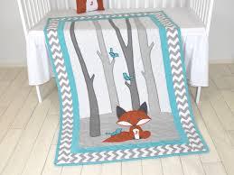Baby Boy Chevron Crib Bedding Fox Blanket Teal Chevron Gray Nursery Baby Boy Quilt Woodland