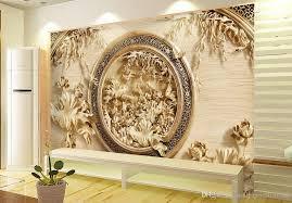 luxury european modern 3d wood carving lotus tv background wall