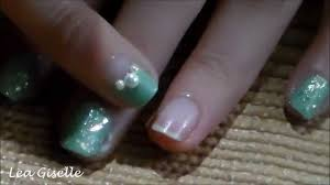 mint green nail art for short nails 3 youtube