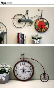retro bedroom wall clock bicycle personality decorative clock on