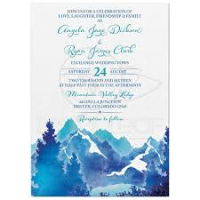 mountain wedding invitations mountain wedding invitation watercolor royal blue turquoise