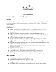 Veterinarian Resume Sample by Resume Veterinary Receptionist Resume