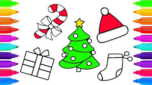 draw christmas tree and gifts of santa claus coloring page youtube