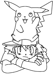 pokemon color pages pikachu pikachu standing on ash ketchum head on pokemon coloring page
