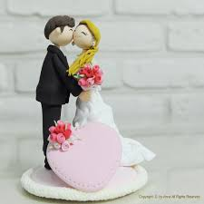 wedding cake topper bride groom clay