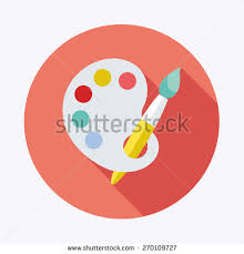 Painting Icon Art Palette Paint Brush Flat Icon Stock Vector 270109727