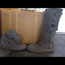 womens ugg boots grey 56 ugg boots s sz 6 grey button up knit ugg boots