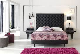 Furry Black Rug Inspiring Modern Bedroom Decoration Using Black Leather Tufted