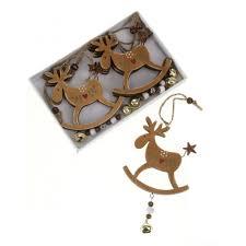 heaven sends set of 6 wooden hanging rocking reindeer christmas