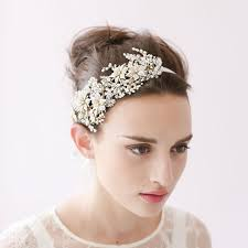 vintage bridal hair pearl bridal hair vine gold headband handmade flower