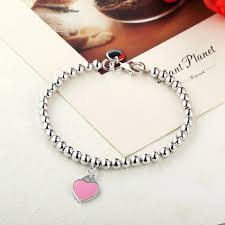 sterling bracelet with heart charm images Sterling silver beads with enamel heart charm bracelet project jpg