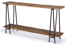 bartlett rustic lodge wood metal rectangle console table rustic