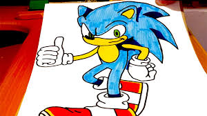 how to draw sonic the hedgehog easy and color for kids