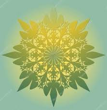 light green color mandala in light green color with yellow light a symbol of
