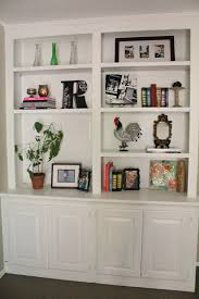 beautiful built in bookshelves come with white stained wall