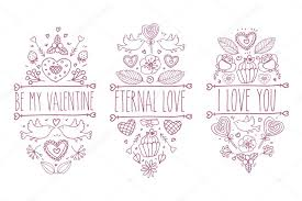 valentines day sketch doodle collection vector hand drawn label