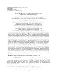 fruit and vegetables consumption among adolescents a study from a