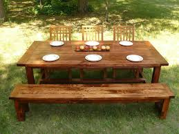 Farm Table With Bench And Chairs Custom Made Farmhouse Style Dining Table And Bench By Minnesota