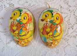 paper mache egg vtg west germany egg candy container german easter pressed paper