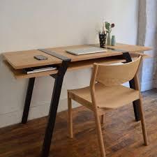 pied de bureau moaroom bureau deux niveaux chene pied pi acier noir design roderick
