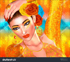 themes indian girl abstract digital art mysterious indian asian stock illustration