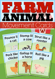 printable farm animal movement cards from abcs to acts
