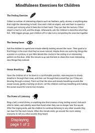 mindfulness activities for children worksheet therapist aid