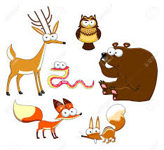 wood animals vector isolated characters royalty