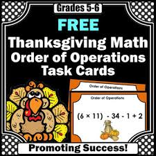 free thanksgiving math activities 5th grade order of operations