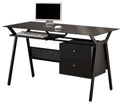 black simple metal glass 2 storage drawers pullout keyboard shelf