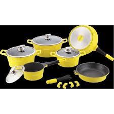 cuisine en batterie de cuisine batterie de cuisine 14 pièces jaune en achat vente