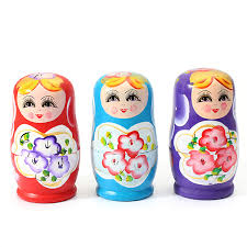 5 pieces lovely russian nesting matryoshka wooden doll set ebay