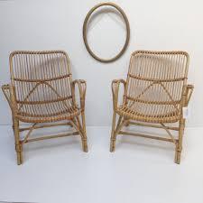 pair of vintage wicker rattan chairs paire de fauteuils en rotin