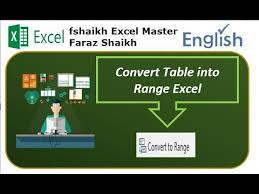 convert the table to a normal range convert data from table range to normal range in excel 2016 youtube