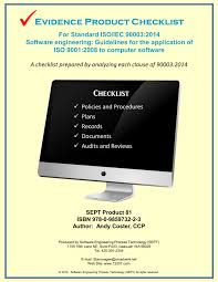 checklists for software engineering standards and software process