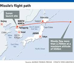 Sea Of Japan Map N Korea Fires Missile Over Japan Then Hits Out At Us East Asia