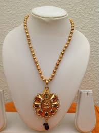 bead necklace with pendant images Beautiful gold bead necklace with laxmi pendant vasthra jewels jpg