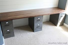 Diy File Cabinet Desk Custom Desk With Painted Metal File Cabinets And Butcher Block