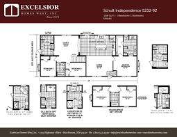 3 Bedroom Trailer Floor Plans by Schult Independence 5232 92 Excelsior Homes West Inc
