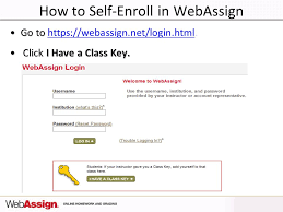 online html class welcome to webassign 1 st day of class how to self enroll in