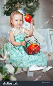happy little holding basket red stock photo 414577771