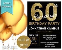 60th surprise birthday invitation 60th birthday invite surprise