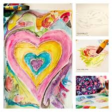 watercolour and glue resist heart painting arty crafty kids