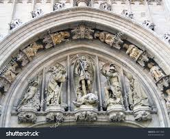 sculptural ornaments on building brussels stock photo